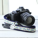 【セット割引1000円】 カメラストラップ camera strap MI-NA ミーナ 一眼レフ ミラーレス 斜めがけ 女子 おしゃれ 日本製 カメラストラップ camera strap フローティングブルーフラワー/長さ調節タイプ