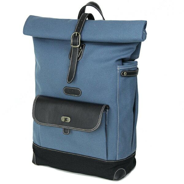 [送料無料] カメラバッグ camera bag MI-NA ミーナ おしゃれ ロール帆布リュック/ スモーキーブルーブラック