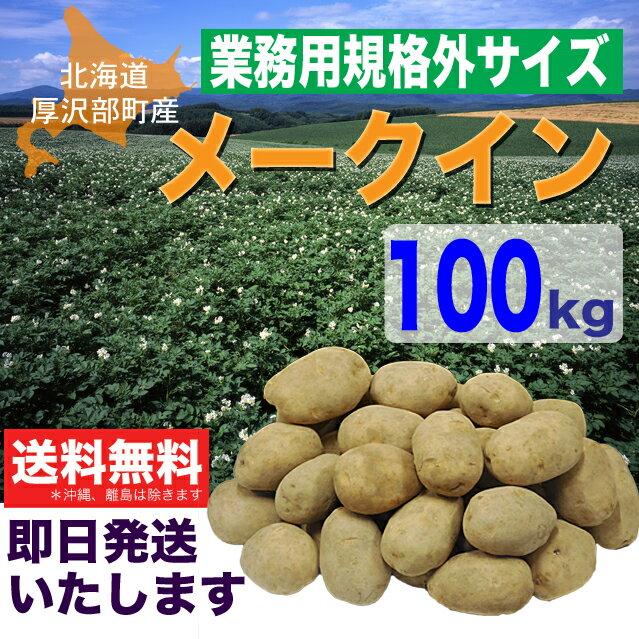 【業務用】厚沢部町産規格外サイズじゃがいも「メークイン」100kg【送料無料!】