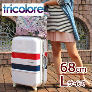 Suitcase «B1133T» 64 cm size M ( 5 days-6 day orientation ) medium frame type TSA lock, 乃本-casters with tricolor pattern marine pattern 40% off sale Tricolore