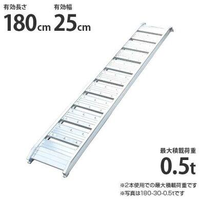 シンセイアルミブリッジ180-25-0.5t1本のみ(最大積載荷重0.5t/全長182cm/有効幅25cm)[道板ラダーレールスロープトラック][r20]