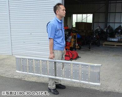 シンセイアルミブリッジ180-30-0.5t2本セット(最大積載荷重0.5t/全長182cm/有効幅30cm)[道板ラダーレールスロープトラック][r20]