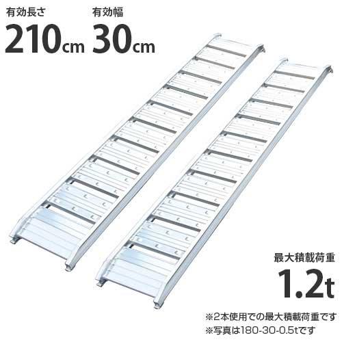 シンセイ アルミブリッジ 210-30-1.2t 《2本セット》 (積載荷重1.2t/全長212cm/有効幅30cm) [道板 ラダーレール スロープ トラック][r20]