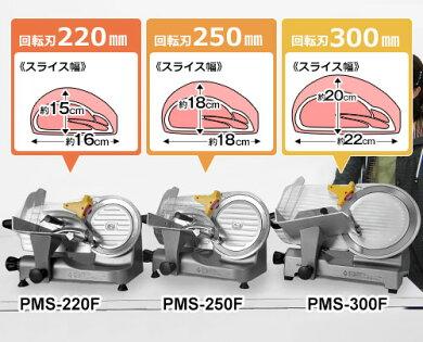 ミナトアルミ製ミートスライサーPMS-220AL(回転刃220mm/100V125W)[ミートスライサー]