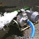 ミナト 2インチ ベルト掛けポンプセット 《3相200V3馬力全閉モーター+サクションホース4m付》 [大水量型 高揚程型 散水ポンプ 灌水ポンプ]