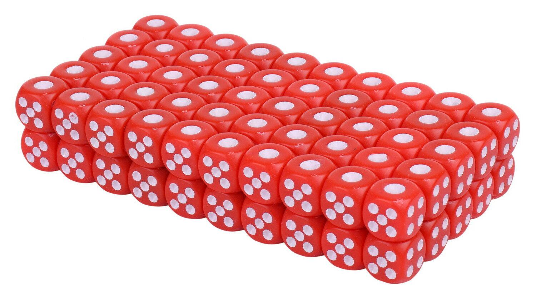 100個セット麻雀用品サイコロ小ゲームダイスおもちゃレッド送料無料mri-a21