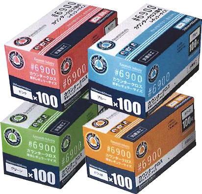 カウンタークロス薄手レギュラーサイズ白・ブルー・ピンク・グリーン100枚川西工業♯6900キッチン用