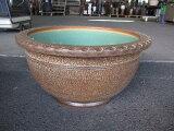 信楽焼き大型サイズの睡蓮鉢20号窯肌トチリワン型水鉢