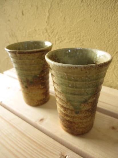 【信楽ビアーカップ】 【ギフト】 陶器ペアーコップ