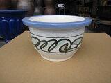 【信楽植木鉢】白絵付足付輪型10号