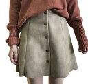 フェイクスエード 台形スカート レディース フロントボタン 裏地つき Aライン ミニスカート