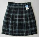 KURI-ORI スクールスカート 48cm丈・51cm丈 紺×グリーン×白クリオリ チェックプリーツスカート