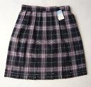 KURI-ORI スクールスカート 42cm丈 紺×ピンククリオリ チェックプリーツスカート