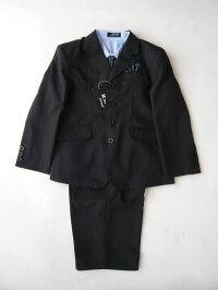 男児黒ストライプスーツ【6,195円!】Yシャツ・ネクタイ付き入学式に最適な、キッズフォーマル