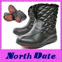 【送料無料】ノースデイト スノーブーツ レディース スパイク NORTH DATE 8951 冬靴 滑りにくい 防寒ブーツ 5E ブラック 【RCP】