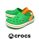 ショッピングcrocband CROCS クロックス クロックバンド グラスグリーン/オレンジ レディース 軽量 EVAサンダル 11016 3R4