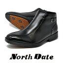 メンズ ビジネスシューズ 防水 防滑 ノースデイト 351 ブラック 雪 スパイク 幅広 4E 冬 紳士靴 NORTH DATE スノーブーツ 【RCP】