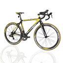 PANTHER (パンサー)ロードバイク全5色/3サイズ選択可シマノ14段変速 STIデュアルコントロール超軽量異型アルミフレーム700C×23C 適応身長160cm以上前後クイックリリース搭載 ドロップハンドルコスパ最強モデル 通勤通学新生活入学 就職メーカー保証1年(色Black/Yellow
