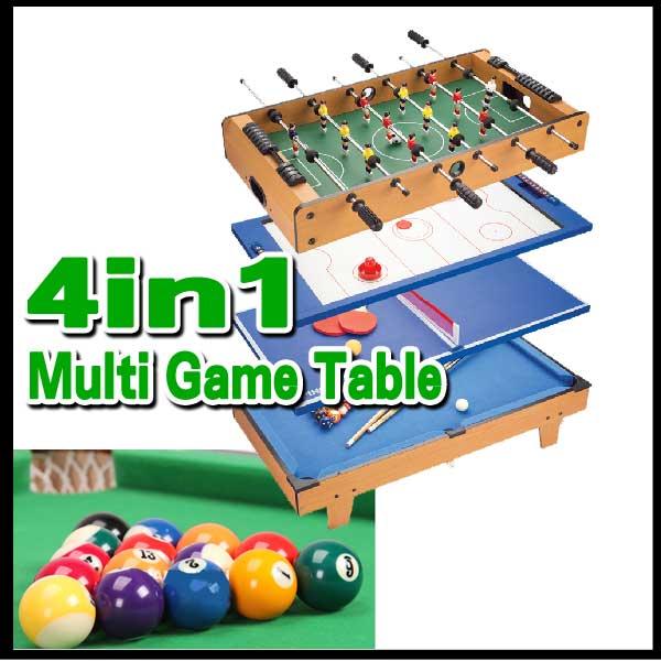 4種類のゲームが楽しめるマルチゲームテーブルビリヤード/テーブルホッケー/テーブルサッカー/卓球/チ