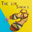 トリコロールサンダルアンクルストラップサンダル フラットソールぺたんこネイビー キャメル ホワイトマリン 靴 シューズワイズ2E L 23.5~24.0cm