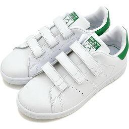 adidas Originals アディダス オリジナルス STAN SMITH CF C キッズ ジュニア <strong>スタンスミス</strong> <strong>ベルクロ</strong> コンフォート Rホワイト/Rホワイト/グリーン 靴 [M20607 SS17]