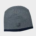 ダンヒル DUNHILL ウール カシミヤ ニット 帽子 ネイビー×グレー系 DUZNQ02945700R