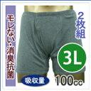 尿漏れパンツ【大きいサイズ 3Lサイズ 2枚組 10%OFF】男性用失禁パンツ 吸水量100cc
