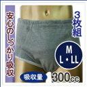 【楽ギフ_包装】【日本製】失禁パンツ/男性用3枚組で15%OFFのお買い得セット!吸水量300ccの大容量でしっかり吸収。ヨコ漏れガード付き、こだわりの日本製!