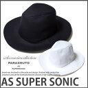 つば広 メンズ コットン 中折れ帽 ハット レディース兼用 ブラック ホワイトPARASHUTO ASSUPERSONIC