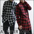 ロングシャツ 日本製 チェックシャツ サイドファスナー付き ロック系 V系 ブラックレッド シャツワンピ AS SUPER SONIC 02P03Dec16