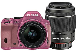 I am belonging to PENTAX K-50 double zoom kit pink / pink order smc PENTAX-DA L18-55mm F3.5-5.6AL WR + smc PENTAX-DA L50-200mm F4-5.6ED WR for color