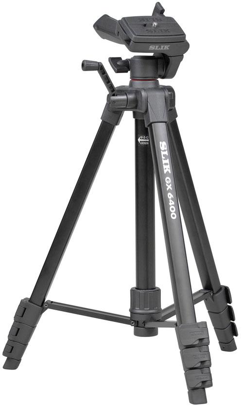 SLIK GX6400 4段三脚『即納〜3営業日後の発送』ベーシックモデル4段三脚 スリックのノウハウを活かしたファミリー向け三脚!ビデオカメラ・デジタルカメラの両方に対応。より軽く、高い伸縮比を実現した、持ち歩きに最適な4段三脚
