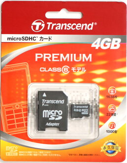 "Transcend 4 GB Class6 microSDHC memory card TS4GUSDHC6 ""stock ~ 2 business days after shipping, DoCoMo mova and FOMA au SoftBank mobile phones micro SD card + SD adapter fs3gm"