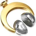 ショッピングヘッドホン ヘッドフォンステンレスペンダントトップ 面白 ヘッドホーン 金色 ゴールド サージカルステンレス316L ネックレス トップ ステンレスパーツ チョーカー メンズ レディース 低アレルギー