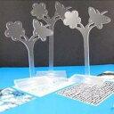 ガーデンピアススタンド(クリア):3個セット 透明 花 フラワー チョウチョウ バタフライ 蝶々 ピアスたて ピアスディスプレイ 店舗用にも 什器 フリマ アクセサリー ネックレス チョーカー ブレスレット リング イヤリング ジュエリー 撮影用 プロ アクリル プラスティック