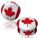 ハンドペイントウッドプラグ(カナダ)/1個販売/2ゲージ (2G) 0ゲージ (0G) 00ゲージ (00G) 12mm (12.0mm)国旗 おもしろ ユニー...