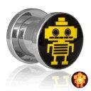 楽天ピアス専門ショップGreen Piercingフラッシュ LED ライト トンネル(ロボット) 0G 0ゲージ 00G 00ゲージ 12.0mm 12mm 14.0mm 14mm 16.0mm 16mm 18.0mm 18mm 20.0mm 20mm おもしろ 発光 電池 面白い ユニーク サージカルステンレス316L ボディピアス メンズ レディース 低アレルギー 光る 埋め込み ネジ式