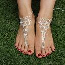 プリンセスビジューベアフットアンクレット 1個販売 レディース 足の指輪 トゥリング 足 足首 ブレ