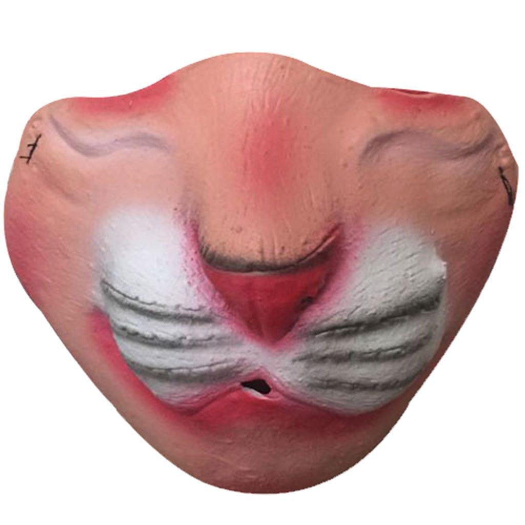 変顔マスク (キャット) 半顔 お面 かぶりもの 覆面 衣装 変装