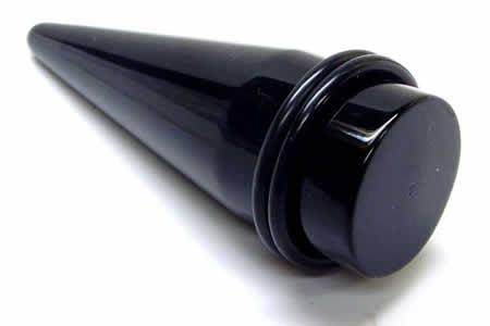 [ 18mm 黒色 プラスチック 拡張器 ] ブラック アクリル インサーション テーパー 18.0mm ボディピアス サージカルステンレス316L メンズ レディース 尖鋭 円錐 ボディーピアス インサーションピン エキスパンダー 拡張 耳 ゴムキャッチ ラバーキャッチ インチ 金アレ