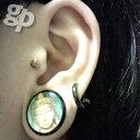 ☆さんの左の耳のボディピアス写真☆グラフィックブッダプラグ/18.0mm(GG)(M)