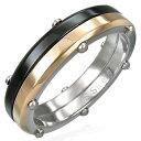 ダブルカラーリベットステンレスリング(SRV100)サイズ/18号 ブラックとピンクゴールドの指輪 黒色 サージカルステンレス316L メンズ レディース ペアリング プレゼント ギフト 結婚 婚約 記念日 誕生日 ピンキーリング ファランジリング