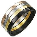 テトリスミックスステンリング(VRD065)サイズ/23号 ブラック ゴールド ピンクゴールド ステンレスリング 黒 金 指輪 サージカルステンレス316L メンズ レディース ペアリング プレゼント ギフト 結婚 婚約 記念日 誕生日 ピンキーリング ファランジリング