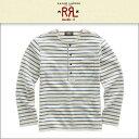 【販売期間 12/08 10:00〜12/21 9:59】 ダブルアールエル RRL 正規品 メンズ 長袖Tシャツ Indigo-Striped Cotton Henley