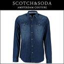 """スコッチアンドソーダ SCOTCH&SODA 正規販売店 メンズ 長袖シャツ """"Blue Science"""" indigo western shirt 20309..."""