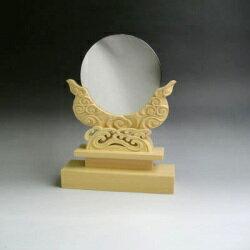 神鏡 神具 神棚 青銅 鏡 + 特上 彫り 雲形 台 サイズ 4寸