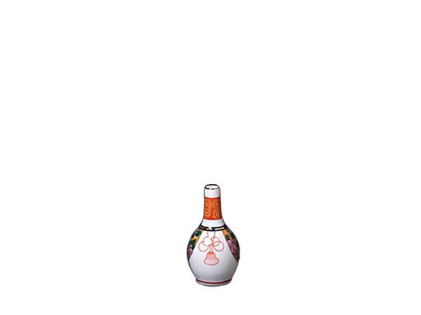 九谷神酒 神具 酒器 みき 徳利 久谷 絵入 赤 神棚 お供え 【 九谷神酒 3寸5分 】