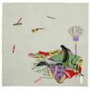 ショッピングハンカチ 日本みやげ 和風ハンカチ 紫式部物語 ぼんぼり 日本製【メール便可】