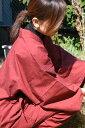 民芸 久留米織作務衣【藍紬】(婦人用作務衣)綿100%(赤色・金茶色・薄紫色)