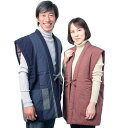 宮田織物 はんてん 袖なし 60双糸縞ポンチョ 縞柄 メンズ レディース 日本製 冬 中わた綿80%・ポリエステル20% 紺/赤